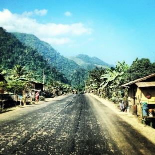 Driving between Vientiane and Vang Vieng, Laos