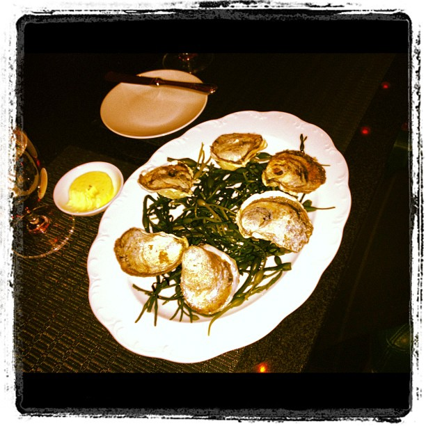 "Wood-Fired ""Island Creek"" Oysters with Lemon Thyme- Shallot Butter"