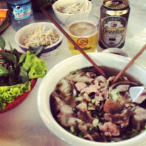 typical lunch: pho bo and beer laos
