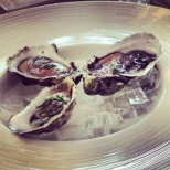 RI oysters on the half shell w/ strawberry mignonette