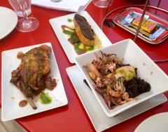 squid in black in risotto, foie gras and duck confit